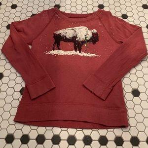 JCrew Crewcuts Buffalo Maroon Sweatshirt Boys 6-7